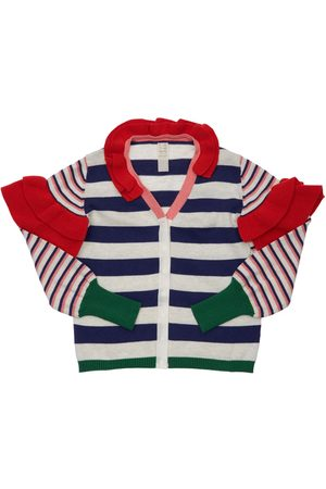 TIA CIBANI Striped Cotton Knit Cardigan W/ Ruffles