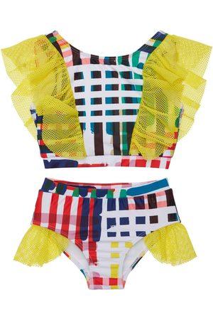 TIA CIBANI Striped Bikini W/ Ruffles