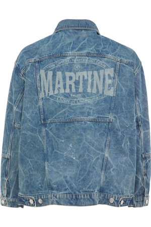 MARTINE ROSE Oversize Logo Print Cotton Denim Jacket