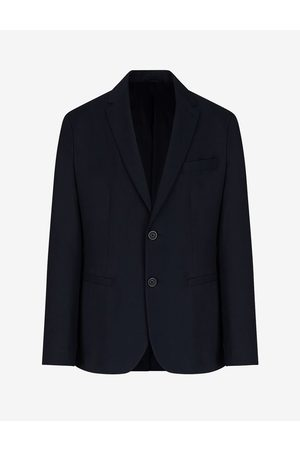 Armani Men Blazers - Blazer Navy Polyester, Viscose