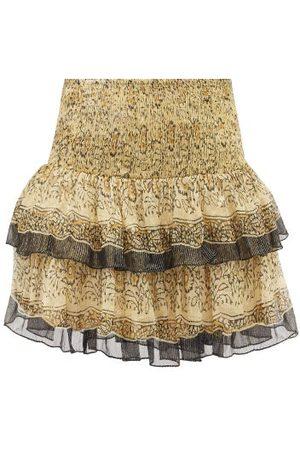 Mes Demoiselles Women Printed Skirts - Hibou Layered Floral-print Crepe Mini Skirt - Womens - Multi