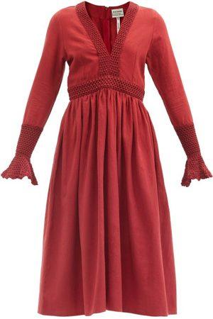 Escvdo Cora Crochet-trim Cotton Midi Dress - Womens - Dark