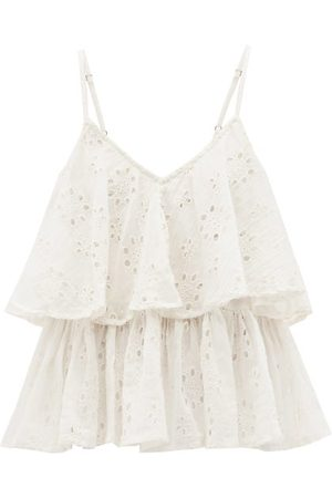 Mes Demoiselles Women Camisoles - Beluga Ruffled Broderie-anglaise Cotton Cami Top - Womens - Ivory