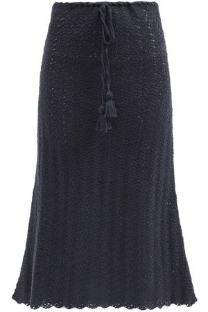Escvdo Tarma Crocheted Pima-cotton Midi Skirt - Womens - Navy