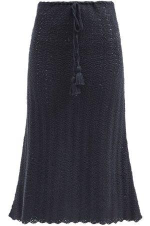 Escvdo Women Midi Skirts - Tarma Crocheted Pima-cotton Midi Skirt - Womens - Navy