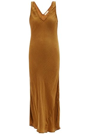 Mes Demoiselles Women Midi Dresses - Soul Godet-insert Crepe Midi Dress - Womens - Bronze