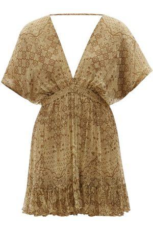 Mes Demoiselles Women Party Dresses - Cordovado V-neck Abstract-print Voile Mini Dress - Womens - Multi
