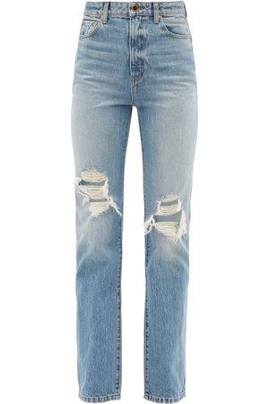 Khaite Danielle Distressed Straight-leg Jeans - Womens - Mid