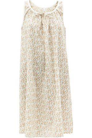 Domi Women Sweats - Honey Gathered-neck Cotton-poplin Nightdress - Womens - Print