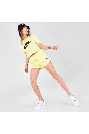Nike Women Sports Shorts - Women's Sportswear Essential French Terry Shorts in /Light Zitron Size X-Small Cotton