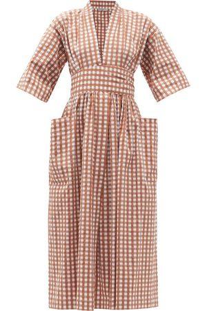 Three Graces London Women Summer Dresses - Charita wide-sleeve gingham cotton-blend sun dress