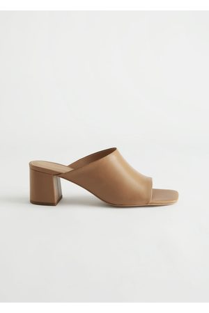 & OTHER STORIES Women Heeled Sandals - Squared Toe Heeled Leather Sandals