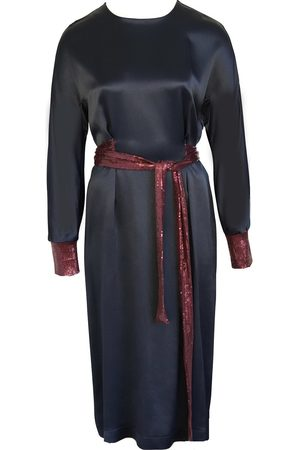 Anna Etter Women Midi Dresses - Navy Midi Dress Esther with sequined Belt and Cuffs