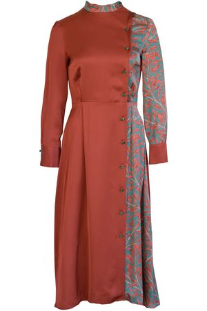 Anna Etter Women Printed Dresses - Long Sleeve Immie Satin Dress with Floral Print