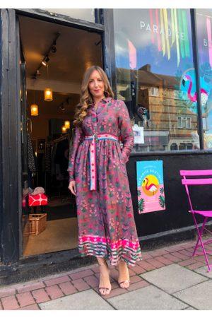 Emily Lovelock Mauve Multi Floral Print Dress