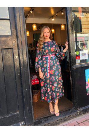 Emily Lovelock Green Multi Floral Print Dress