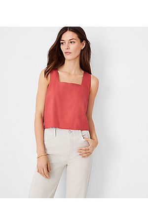 ANN TAYLOR Women Tank Tops - Cropped Square Neck Tank