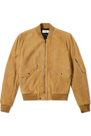 Saint Laurent Men Leather Jackets - Suede Bomber Jacket