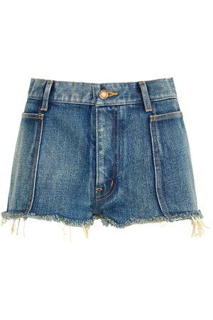 Saint Laurent Women Shorts - Blue distressed denim shorts