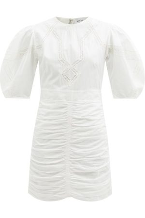Rhode Austin Lace-panel Cotton-poplin Mini Dress - Womens