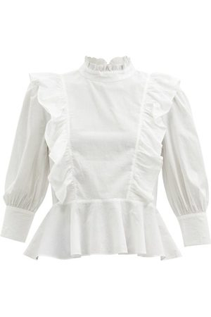Rhode Sylvie Ruffled Cotton-poplin Blouse - Womens