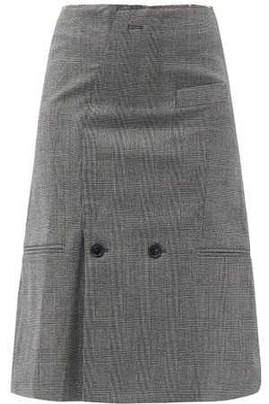 Vetements Women Midi Skirts - Check Wool-blend Midi Skirt - Womens - Grey