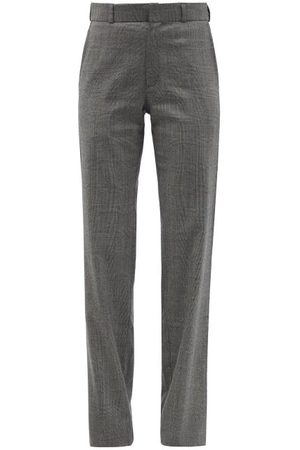Vetements Women Formal Pants - Prince Of Wales-check Wool-blend Suit Trousers - Womens - Grey