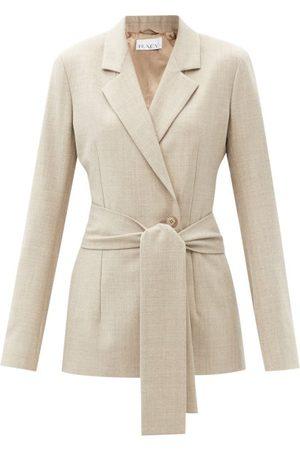 Raey Belted Wool-blend Suit Jacket - Womens