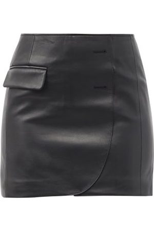 Vetements Asymmetric Leather Mini Skirt - Womens
