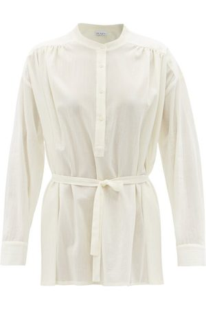 Raey Gathered Sheer Cotton-voile Shirt - Womens - Ivory