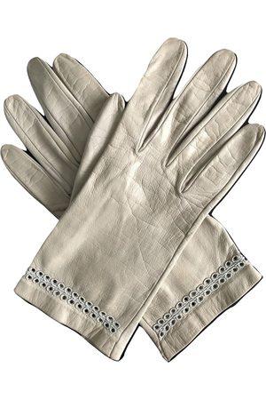 Dior Ecru Leather Gloves