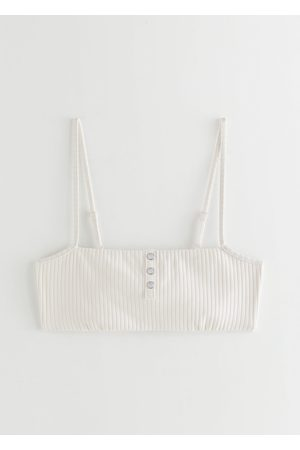 & OTHER STORIES Pearl Button Ribbed Bikini Top