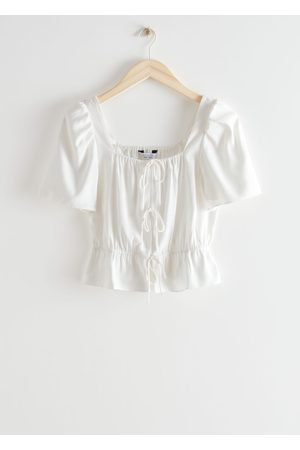 & OTHER STORIES Puff Sleeve Spaghetti Tie Top