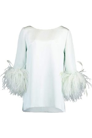 Catherine Regehr Women Tops - Mint Feather Cuff Boat Neck Top
