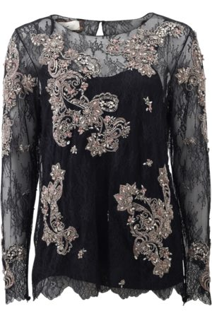 Marchesa Chantilly Lace Top With Beading