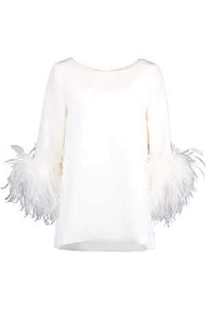 Catherine Regehr Feather Cuff Boat Neck Top