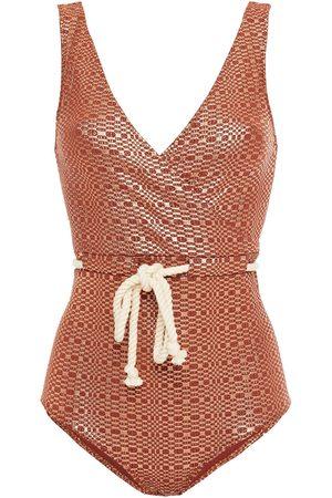 Lisa Marie Fernandez Women Swimsuits - Woman Yasmin Wrap-effect Metallic Seersucker Swimsuit Copper Size 1