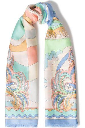 Emilio Pucci Women Scarves - Woman Frayed Printed Silk-twill Scarf Peach Size