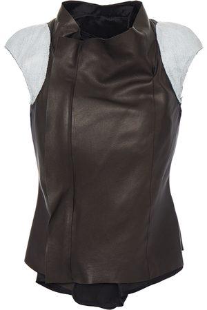 Rick Owens Women Leather Jackets - Woman Coated Denim-trimmed Leather Vest Size 38