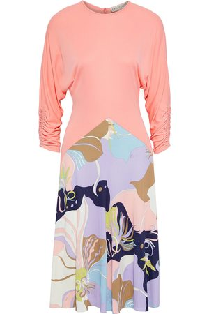 EMILIO PUCCI Women Casual Dresses - Woman Ruched Printed Jersey Dress Coral Size 40