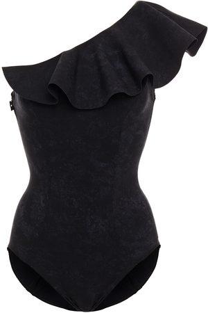 LISA MARIE FERNANDEZ Women Swimsuits - Woman Arden One-shoulder Ruffled Printed Bonded Swimsuit Size 1