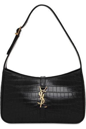 Saint Laurent Monogram Embossed Leather Shoulder Bag