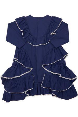 TIA CIBANI Embroidered & Ruffled Cotton Twill Shirt