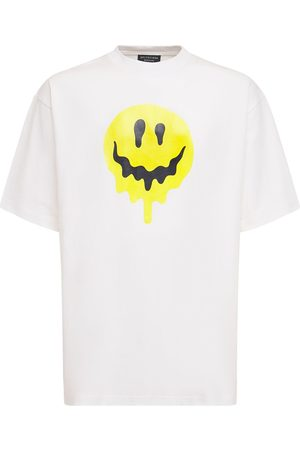 BALENCIAGA Men T-shirts - Smile Print Cotton T-shirt