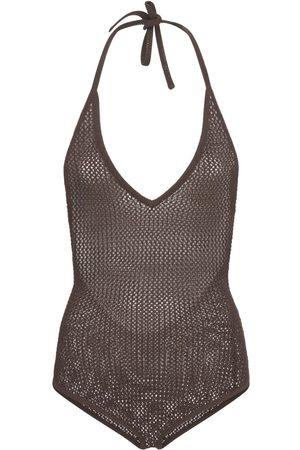 Bottega Veneta Fishnet Knit Halter Neck Bodysuit