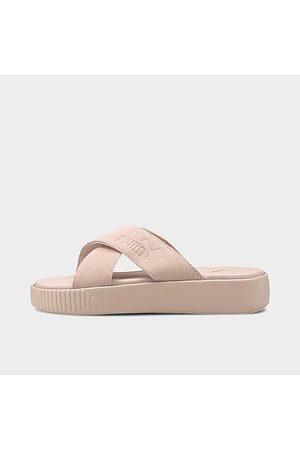 PUMA Women Platform Sandals - Women's Suede Platform Slide Sandals