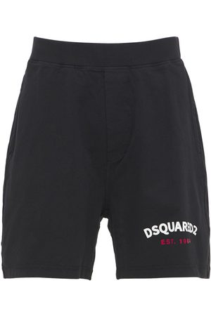 DSQUARED2 Oversize Logo Print Cotton Jersey Shorts