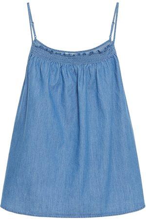 Joie Women Camisoles - Woman Manisha Shirred Cotton-chambray Camisole Mid Denim Size L