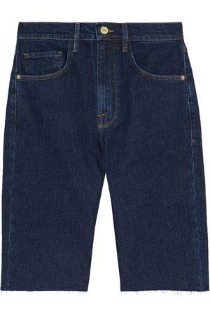 Frame Women Bermudas - Woman Le Vintage Bermuda Frayed Denim Shorts Dark Denim Size 23