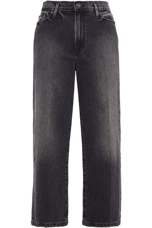 Frame Women High Waisted - Woman Ali Wide Crop Faded High-rise Wide-leg Jeans Charcoal Size 23